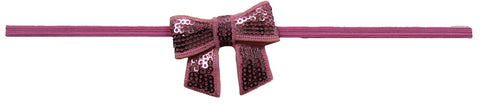 "Pink 2"" Sequin Bow On Skinny Headband - Bubble Gum Pink"