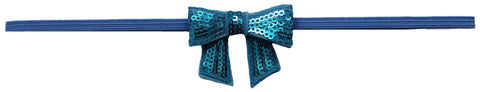 "Turquoise 2"" Sequin Hair Bow Clip On Skinny Headband - Blue"