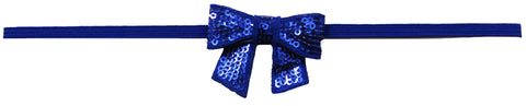 "Royal Blue 2"" Sequin Hair Bow Clip On Skinny Headband - Royal"