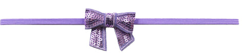 "Lavender 2"" Sequin Bow On Skinny Headband - Lavender"
