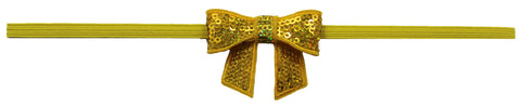 "Yellow 2"" Sequin Bow On Skinny Headband - Yellow"