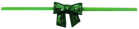 "Kelly Green 2"" Sequin Bow On Skinny Headband - Lime Green"