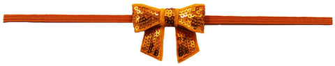 "Orange 2"" Sequin Bow On Skinny Headband - Orange"