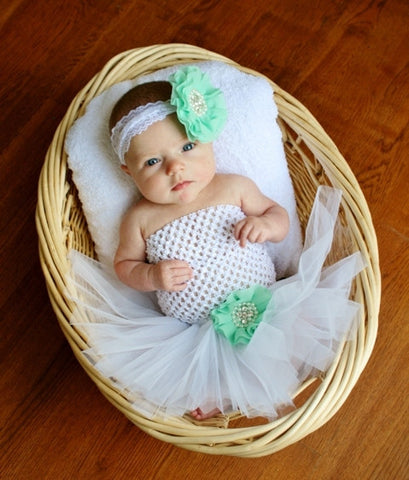 White & Mint Tutu Set - Tutu, Crochet Top & Headband