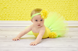 Lime & Yellow Tutu Set - Tutu, Crochet Top & Headband