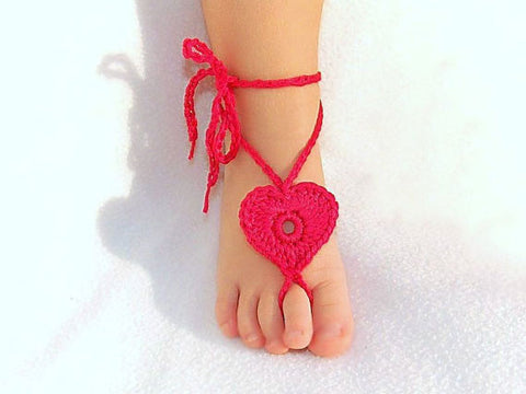 Crochet Heart Anklets - Barefoot Sandals