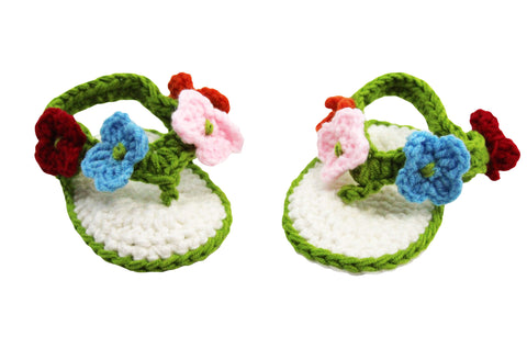Green & White Crochet Baby Sandals With Multi Colored Flowers
