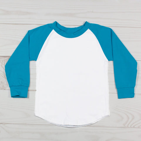 Long Sleeve Raglan T-Shirt - Turquoise