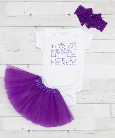 And Though She Be But Little Bodysuit - Graphic T-Shirt & Purple Tutu Set