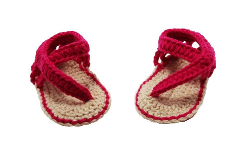 Tan And Dark Pink Crochet Sandals