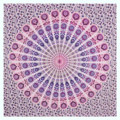 "90"" Square Indian Mandala Beach Throw - Amazing Shades of Pink & Purple Circle Pattern"