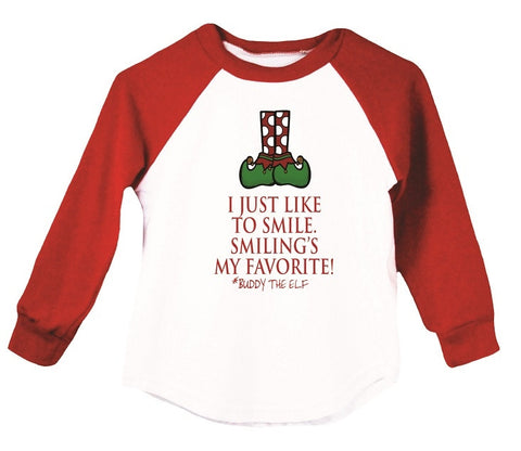 I Just Like To Smile... Raglan T-Shirt, Red & Green