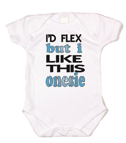 I'd Flex But I Like This Bodysuit Graphic Bodysuit In Blue & Black
