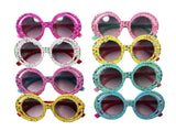 Round Rimmed Girls Sunglasses With Hearts & Clouds-Multiple Colors