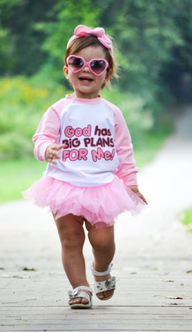 God Has Big Plans For Me Raglan T-Shirt, Pink Tutu, Headband