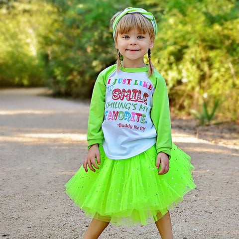 I Just Like To Smile... Raglan T-Shirt, Sparkle Tutu, Headband