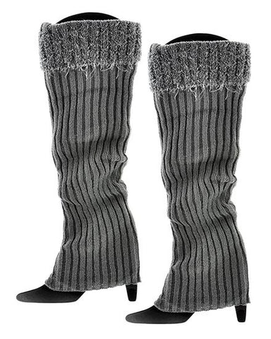 Womens Gray Stripe Crochet Boot Cuff Legwarmers