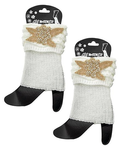 Womens Ivory Crochet Boot Cuff Legwarmers With Beaded Applique