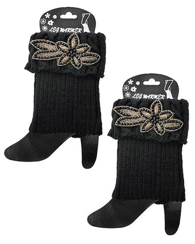 Womens Black Crochet Boot Cuff Legwarmer With Floral Applique
