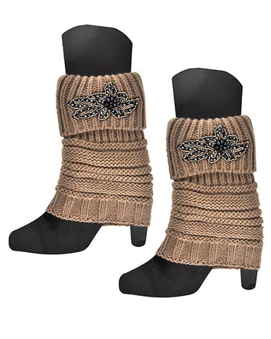 Womens Taupe Crochet Boot Cuff Legwarmers With Beaded Applique