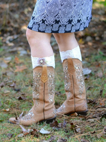 Womens Lace Boot Cuffs White With Chiffon Flower Applique