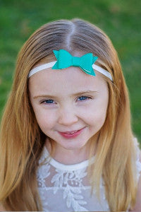 "Teal 2.5"" Leather Bow On Skinny Headband - Gray"