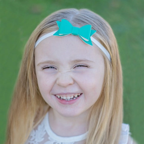 "Teal 2.5"" Leather Bow On Skinny Headband - White"