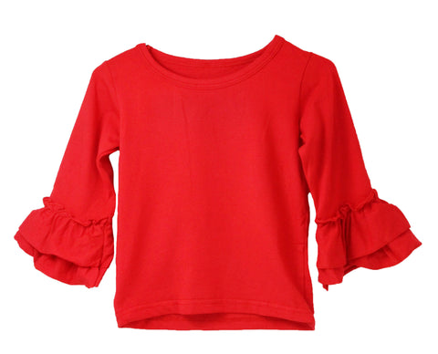 Ruffle Sleeve Little Girl Top - 12 Color Options