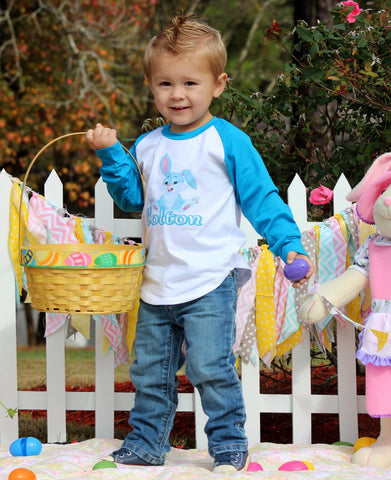 Turquoise Bunny Personalized Raglan T-Shirt