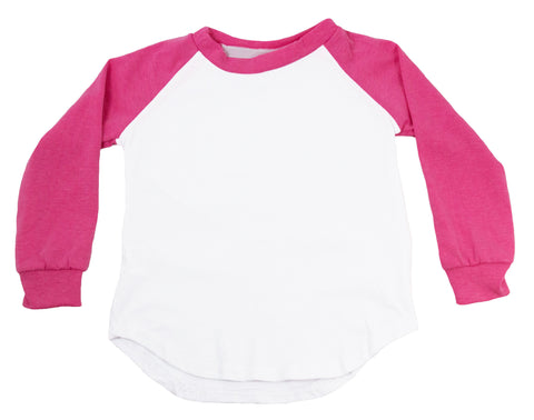 Long Sleeve Raglan T-Shirt - Bubblegum Pink
