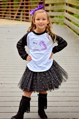 Boots & Bling It's A... Raglan T-Shirt, Tutu, Headband Set