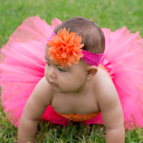 "Orange Chiffon Mum On Hot Pink 2"" Lace Headband"