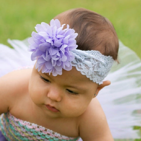 "Lavender Chiffon Mum Flower On 2"" White Lace Headband"