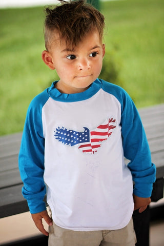 American Flag Eagle Raglan T-Shirt