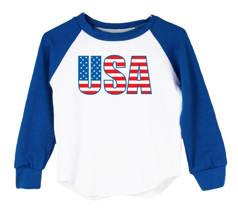 USA American Flag - Raglan T-Shirt