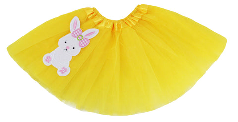 Embellished Easter Tutus with Embroidered Bunny Accent