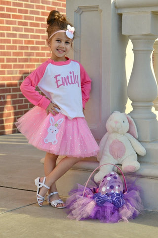Easter (Personalized) T-Shirt, Pink Sequin Star Tutu, Headband