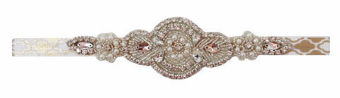 Round Rhinestone Applique With Gold Moroccan Print Satin Headband