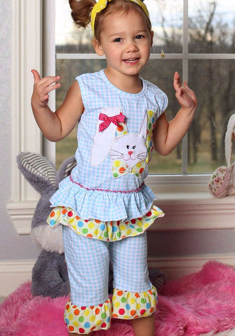 Boutique Blue Gingham & Polka Dots Easter Bunny Top & Pants Set