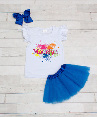 Graffiti - Personalized 3pc T-Shirt and Blue Tutu Set