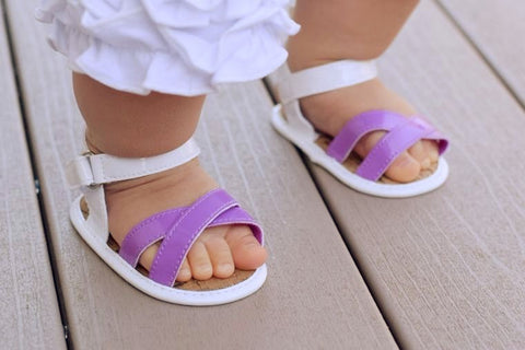 White & Purple Strappy Sandals