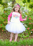 Graffiti (Personalized) Raglan T-Shirt, White Tutu, Headband