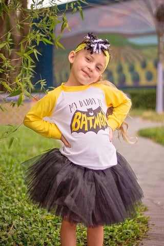 My Daddy Is Batman Raglan T-Shirt, Tutu, Headband Set