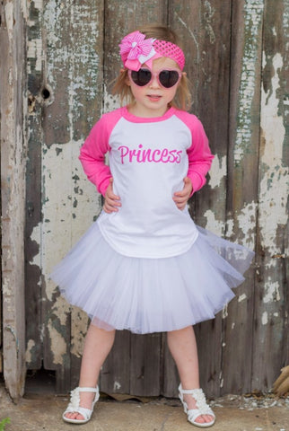 Princess Raglan T-Shirt, White Tutu, Headband Set