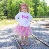 Personalized Raglan T-Shirt, Pastel Rainbow Tutu, Headband Set