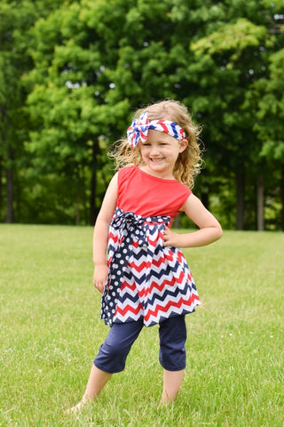 Red White & Blue Chevron Dress & Pants Set With Polka Dot Sash