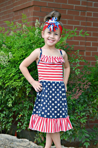 Red White & Blue Stars & Stripes Spaghetti Strap Dress