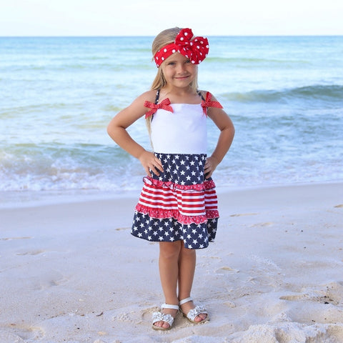 Red White & Blue Stars & Stripes Dress With Red Dot Bow Accents