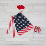 Blue With White Stars Pillowcase Dress With Red & White Trim