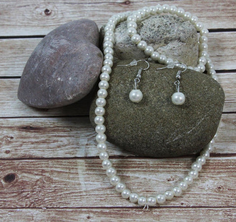Pearl (Faux) Necklace With Matching Bracelet & Drop Earrings
